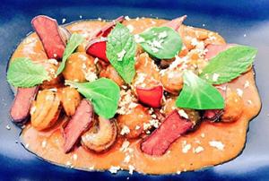 Curry de cabrillas estofadas, huevas de atún en salazón y turrón de maní - Recetas Usisa