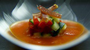 Gazpacho de Verduras Asadas con Picadillo y Mojama de Atún